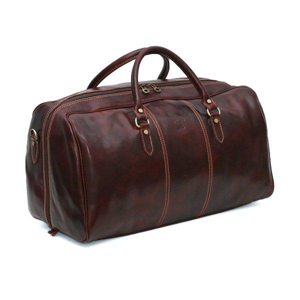Borsone viaggio artigianale vera pelle cuoio toscano giglio fiorentino made in italy