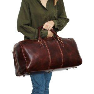 Borsone viaggio donna pelle marrone chiusura a cerniera cuoio toscano giglio fiorentino borsa viaggio donna