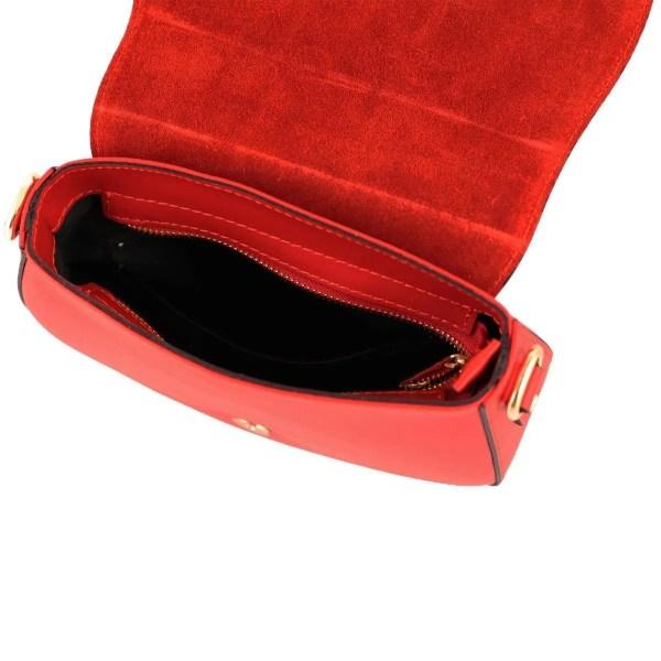 Borsetta a tracolla in pelle rossa made in italy scompartimenti