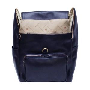 Zaino schienale pelle blu Made in Italy cuoio firenze tasche