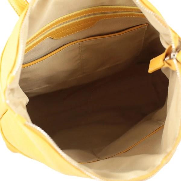 Scompartimenti interni zaino donna in pelle giallo Fantini Pelletteria