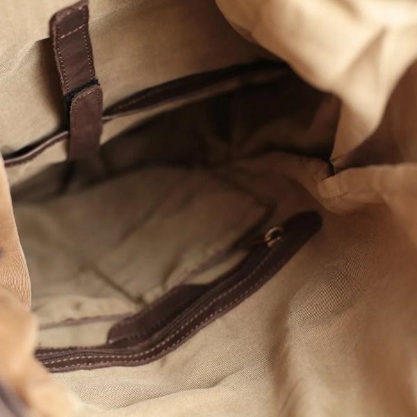 Interno zaino in pelle Fantini Pelletteria Made in Italy marrone chiaro