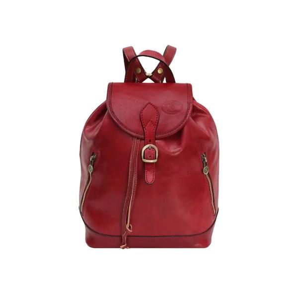 Zainetto in pelle ragazza vera pelle rossa cuoio Firenze Made in Italy tasche esterne