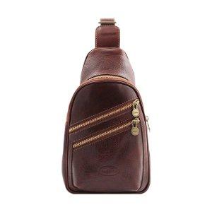 Monospalla in Pelle marrone artigianale - Fantini