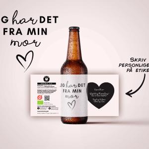 Mors dag øl med personlig hilsen på etiketten