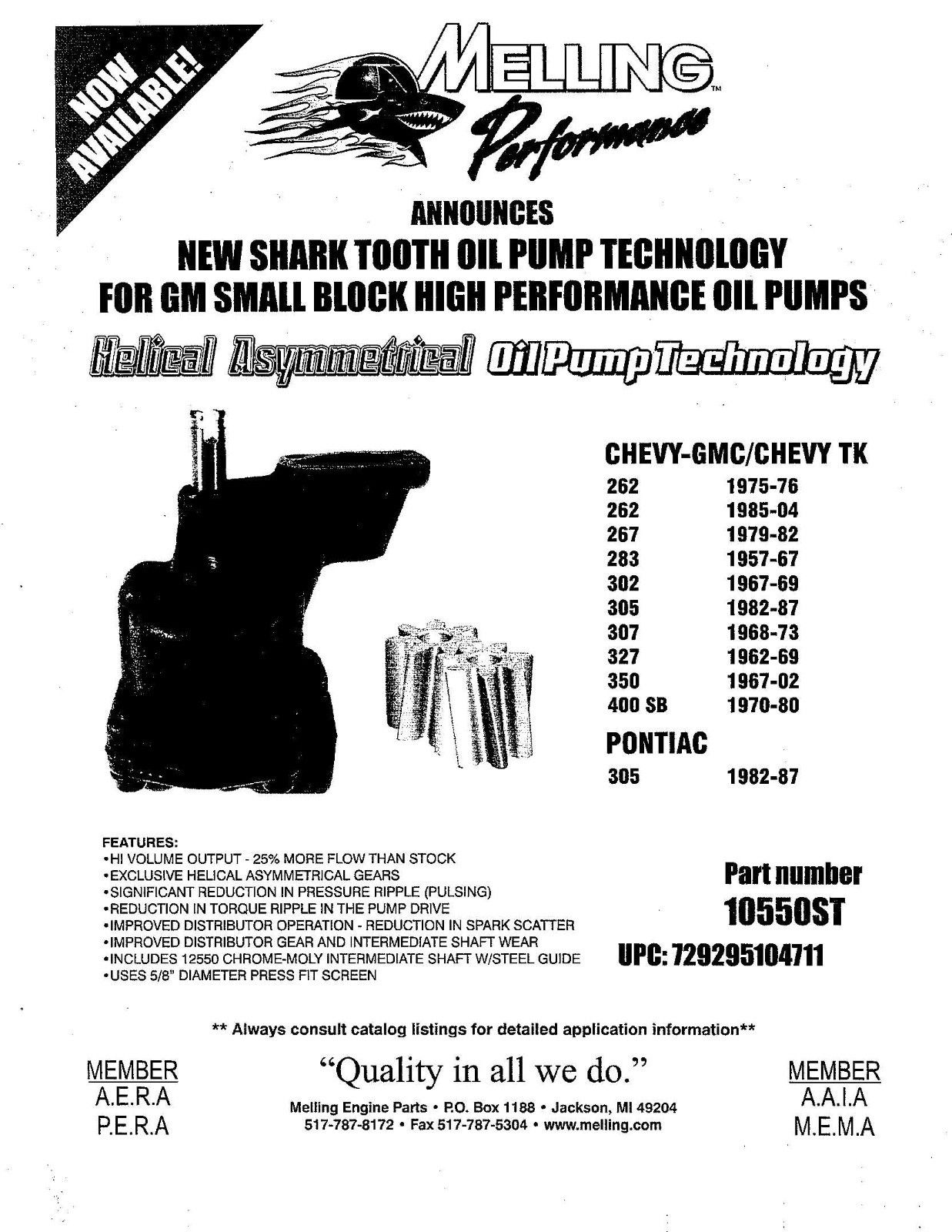 Melling Shark Tooth Oil Pump St Sbc High Volume