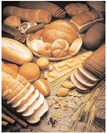 Pastas and whole-grain breads contain complex carbohydrates, which are long strands of glucose molecules. Nutritionists recommend that 55–60 percent of calories come from carbohydrates, and especially complex carbohydrates. [Photograph by James Noble. Corbis. Reproduced by permission.]