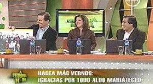 Aldo Mariátegui, Claudia Cisneros, Sofía Franco, Mario Saldaña