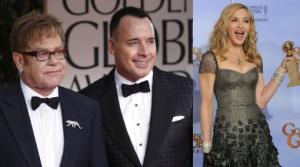 Globos de Oro 2012, Globo de Oro, Madonna, Elton John, David Furnish