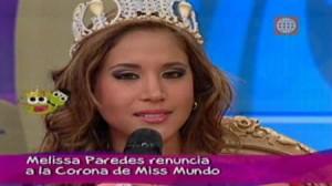 renuncia , Miss Perú Mundo , organización , Dos sapos una reina , Melissa Paredes