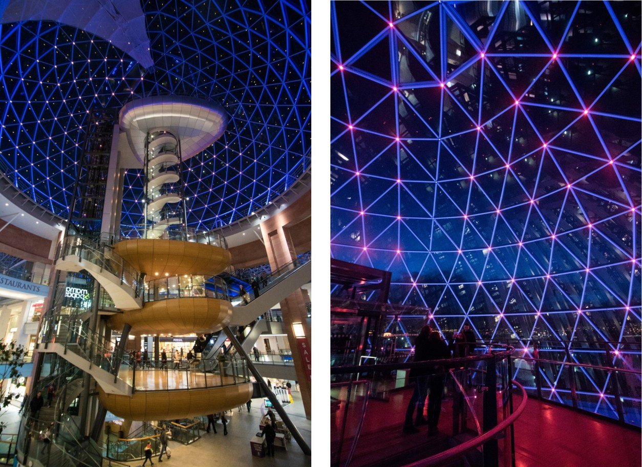 dome-in-victoria-square-shopping-centre-lit-up-at-night-in-blue-and-purple-lights-2-days-in-belfast-itinerary