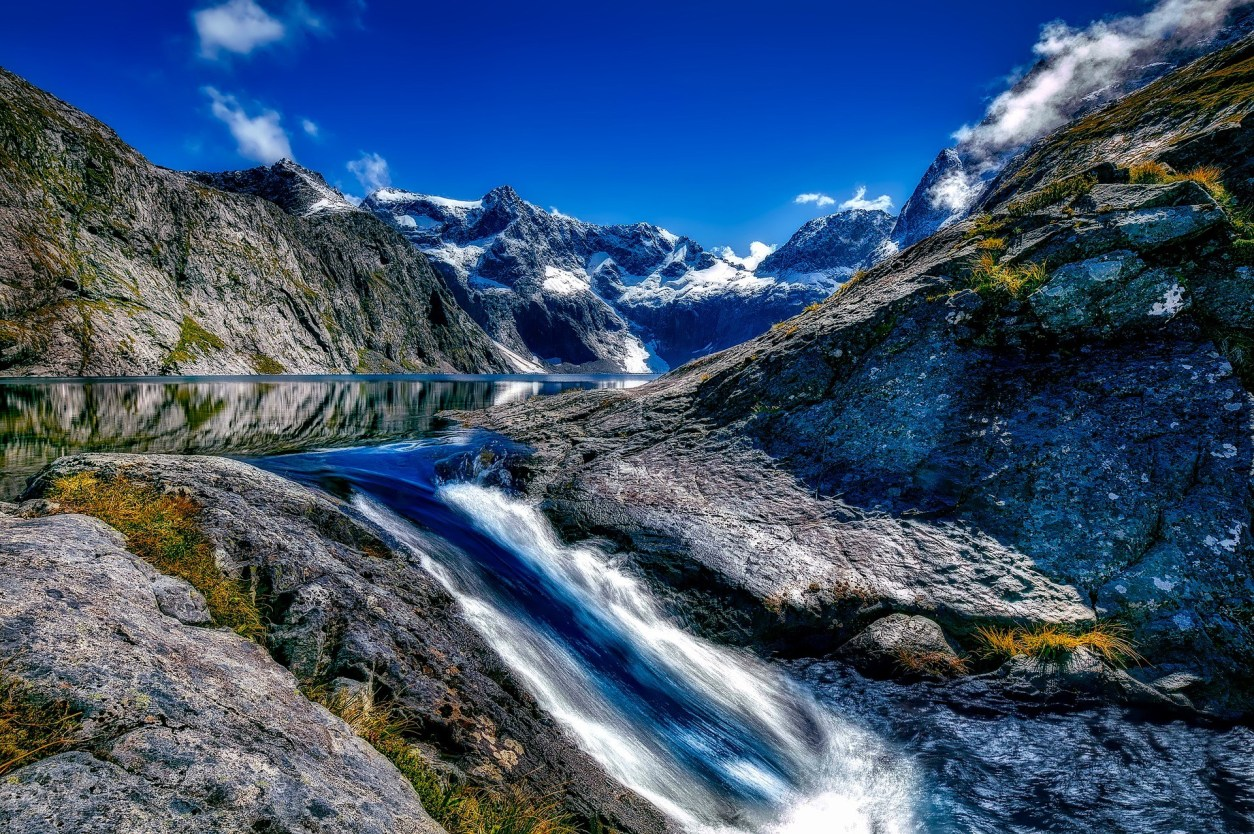 water-rushing-waterfall-through-a-glacier-in-the-mountains-in-fjordland
