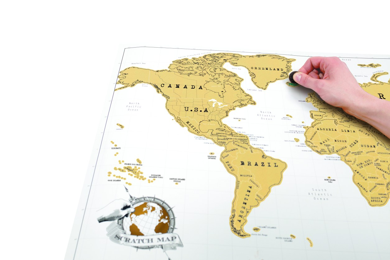 Luckies of London original scratch map. White scratch map. Travel globe world map. 15 Romantic Travel Gift Ideas for Valentine's Day