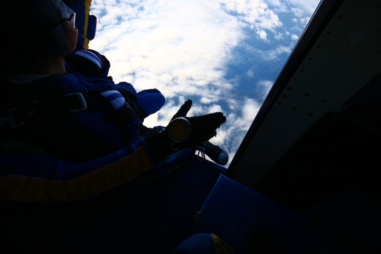 View from a plane clouds below jump Skydive Taupo The Best Skydiving in New Zealand