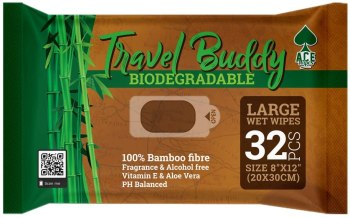 ace-travel-buddy-large-body-wet-wipes-biodegradable-no-rinse-bath-or-shower-bamboo-wipes-for-camping-travel-backpacking-hiking-and-festivals-32-wipes-wild-camping-essentials