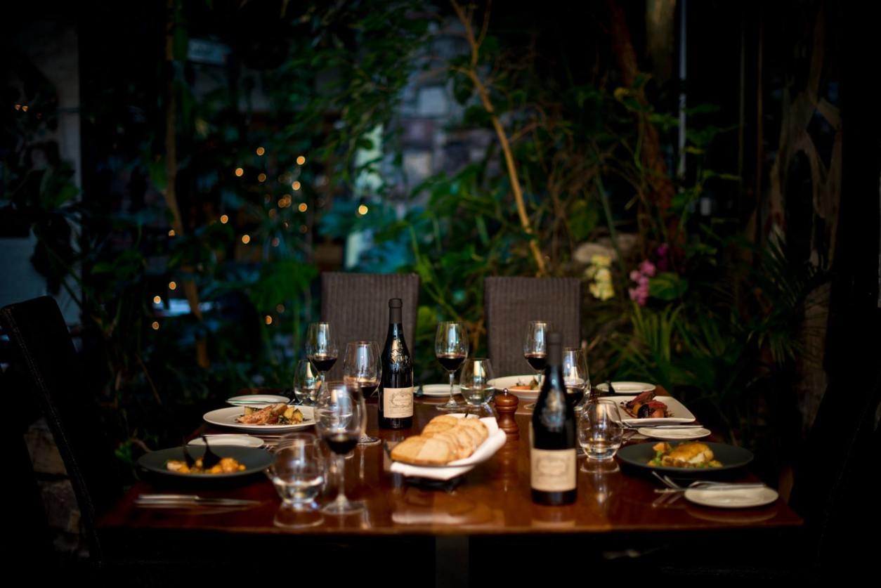 restaurant-table-with-plates-of-food-and-glasses-of-red-wine-in-leafy-setting-with-plants-ubiquitous-chip-glasgow