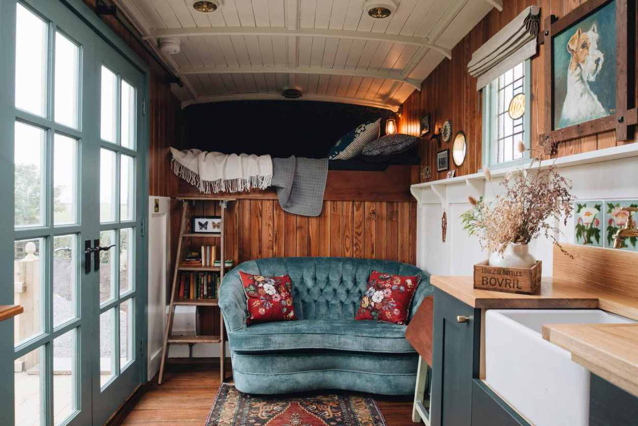 the-oat-box-converted-horsebox-with-sofa-sink-and-mezzanine-bed-on-the-causeway-coast-glamping-northern-ireland