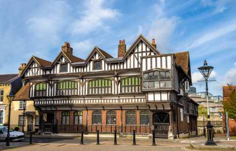 black-and-white-tudor-house-against-blue-skies-indoor-activities-in-southampton