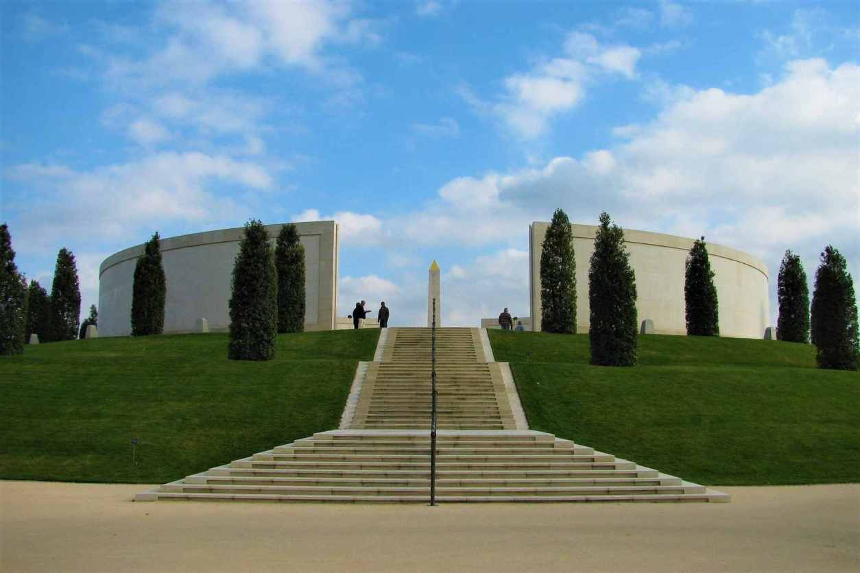 people-up-the-top-of-steps-of-the-national-memorial-arboretum