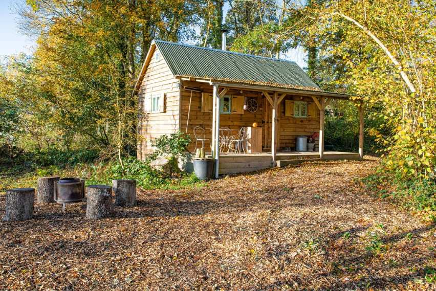 exterior-of-the-jacaranda-cabin-in-the-forest-garden-in-autumn