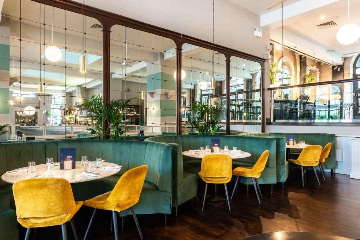 green-restaurant-booths-at-browns-brasserie-and-bar-bottomless-brunch-sheffield