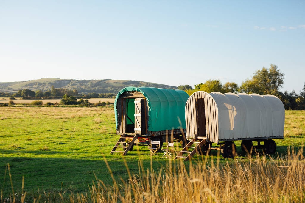 two-wagons-in-field-in-riverside-camp-on-sunny-day-glamping-sussex