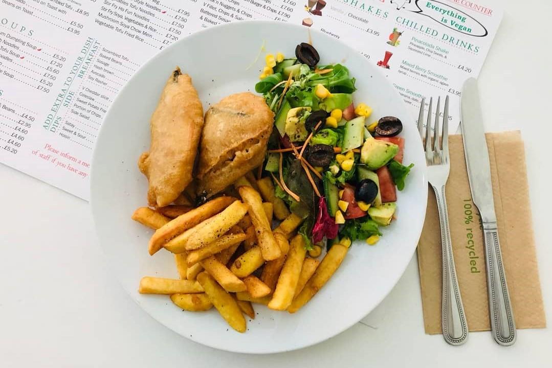 plate-of-vegan-fish-and-chips-at-loving-hut-best-vegan-restaurants-brighton