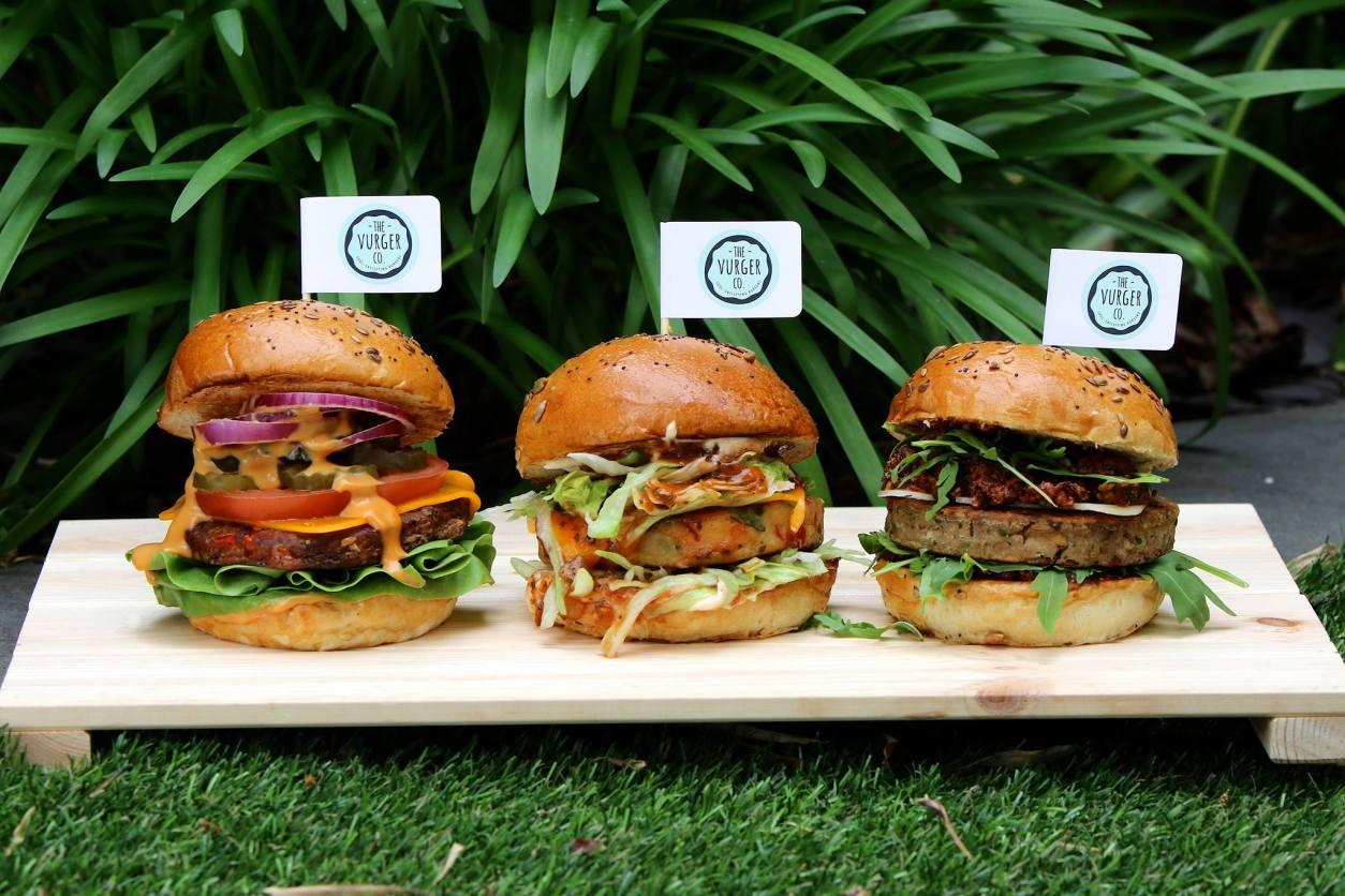 three-vegan-burgers-in-garden-of-the-vurger-co-best-vegan-restaurants-brighton