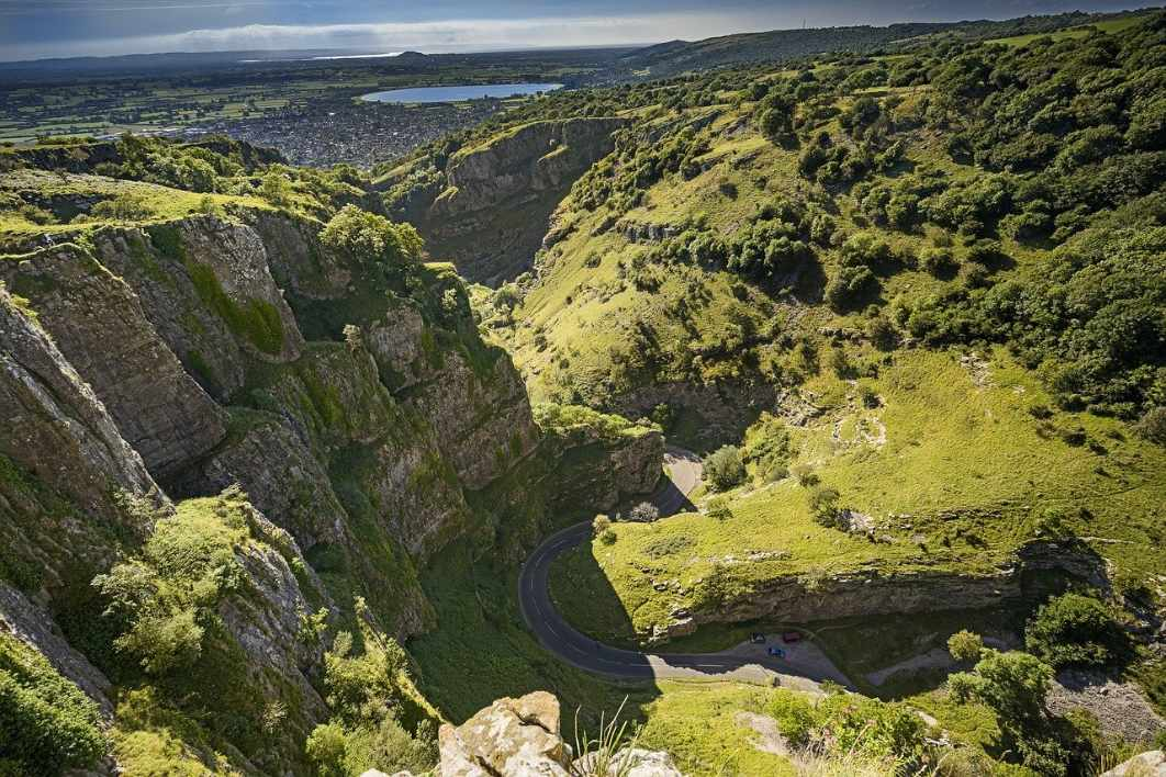 view-of-road-winding-through-cheddar-gorge
