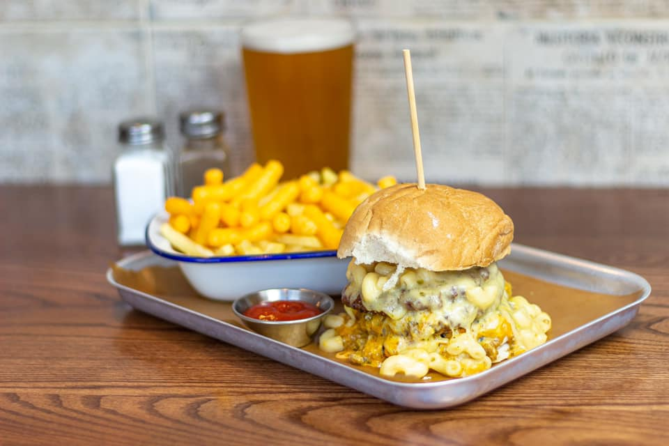 burger-chips-and-beer-in-the-footage-pub