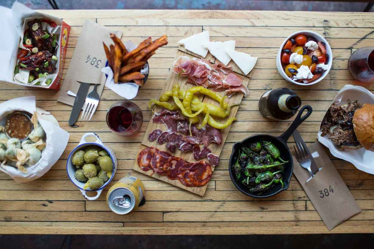 spanish-tapas-on-table-at-three-eight-four-restaurant