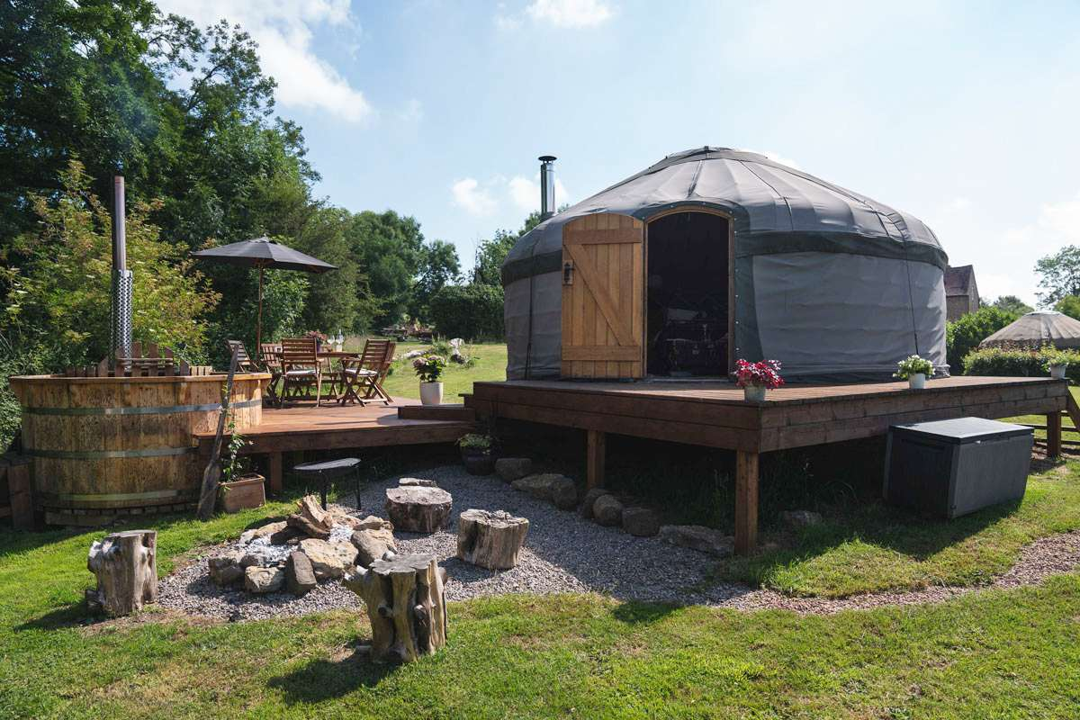 exterior-of-zelda-yurt-with-decking-at-mrs-mills-yurts-glamping-gloucestershire