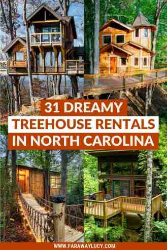Treehouse Rentals NC: 31 Dreamy Treehouses in North Carolina [2021]. From romantic retreats with private hot tubs to family vacations with lots of activities, here are 31 dreamy treehouse rentals in NC! Click through to read more...
