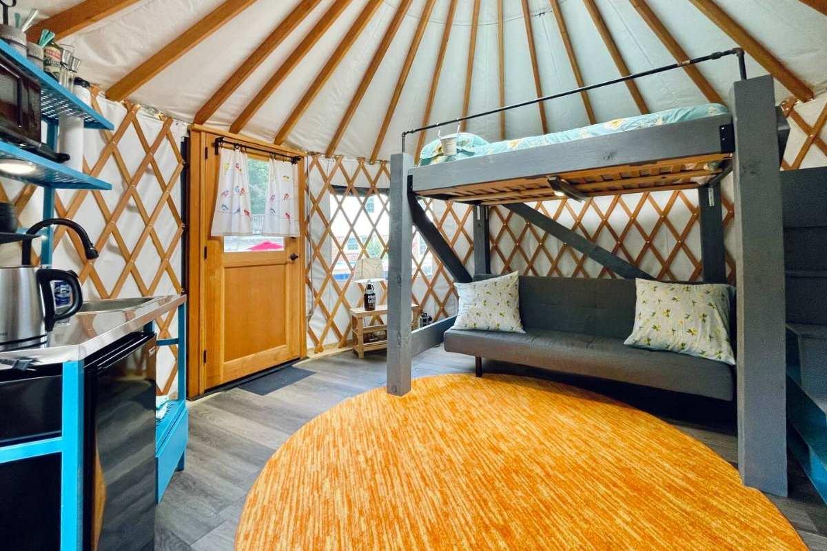 interior-of-yurt-with-bunk-bed-at-dallas-yurt-oasis