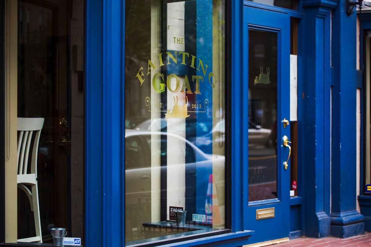 blue-exterior-of-the-fainting-goat-restaurant