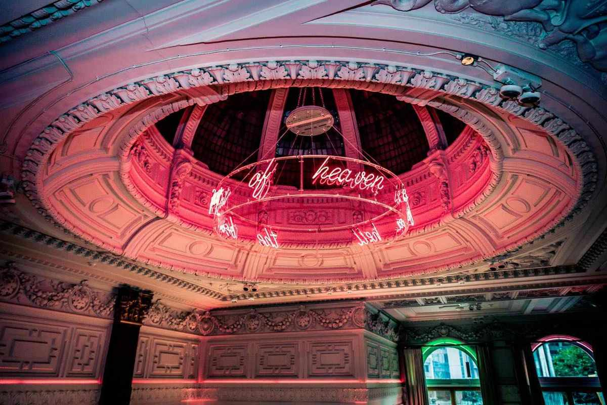 pink-dome-with-neon-words-at-neighbourhood-bar-bottomless-brunch-liverpool