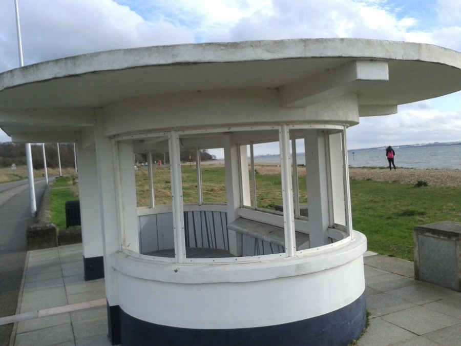 Pedalling the solent way Art Deco Shelter on Weston Shore