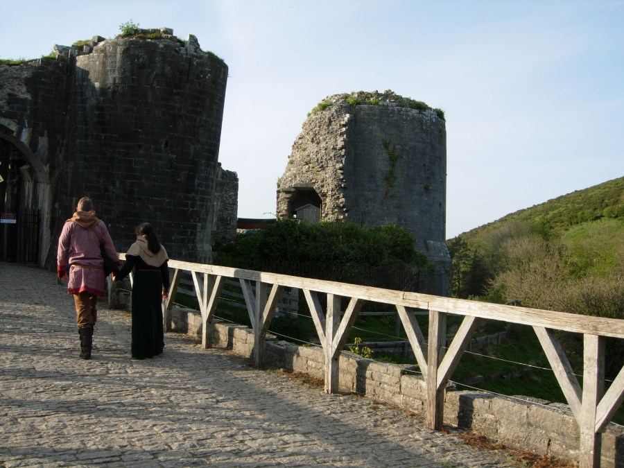 Medieval couple at Corfe Castle