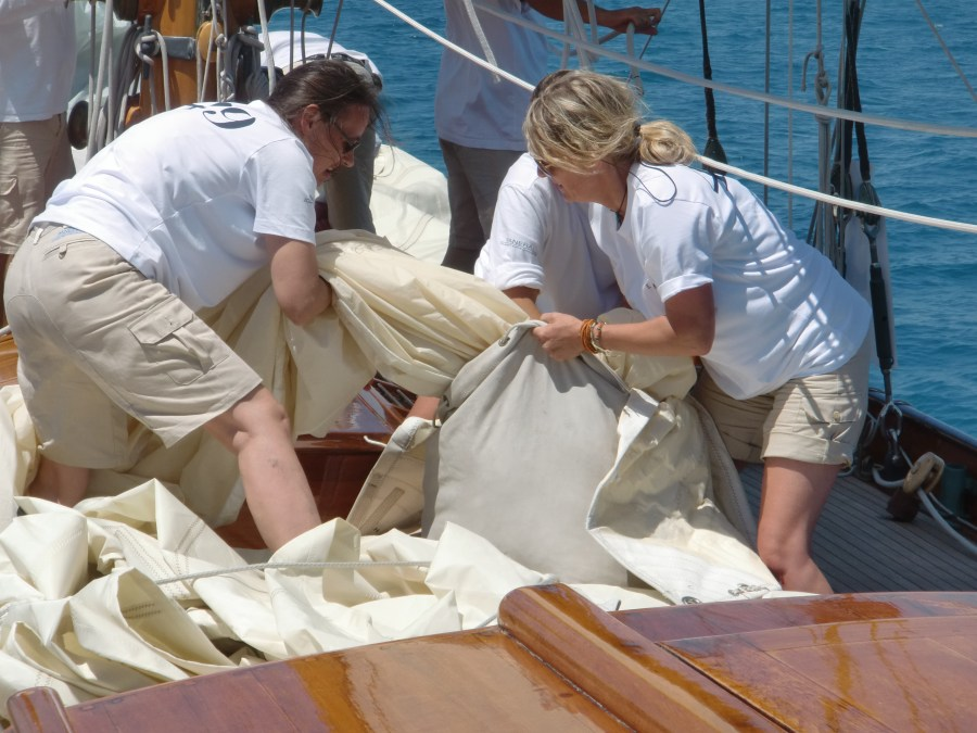 Packing the Mizzen Stay sail