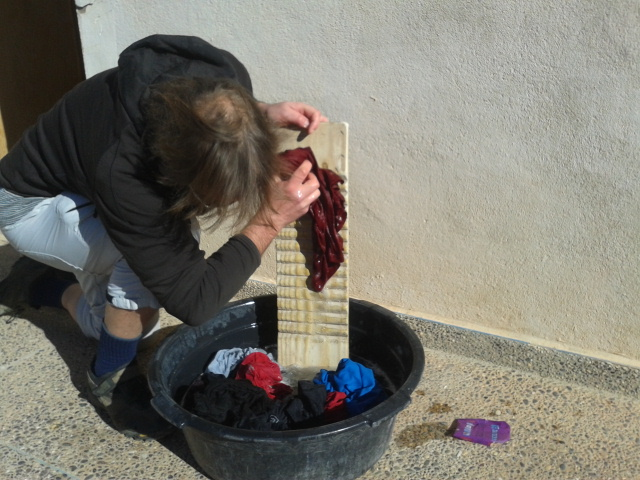 washing clothes at hotel sahara aoulouz