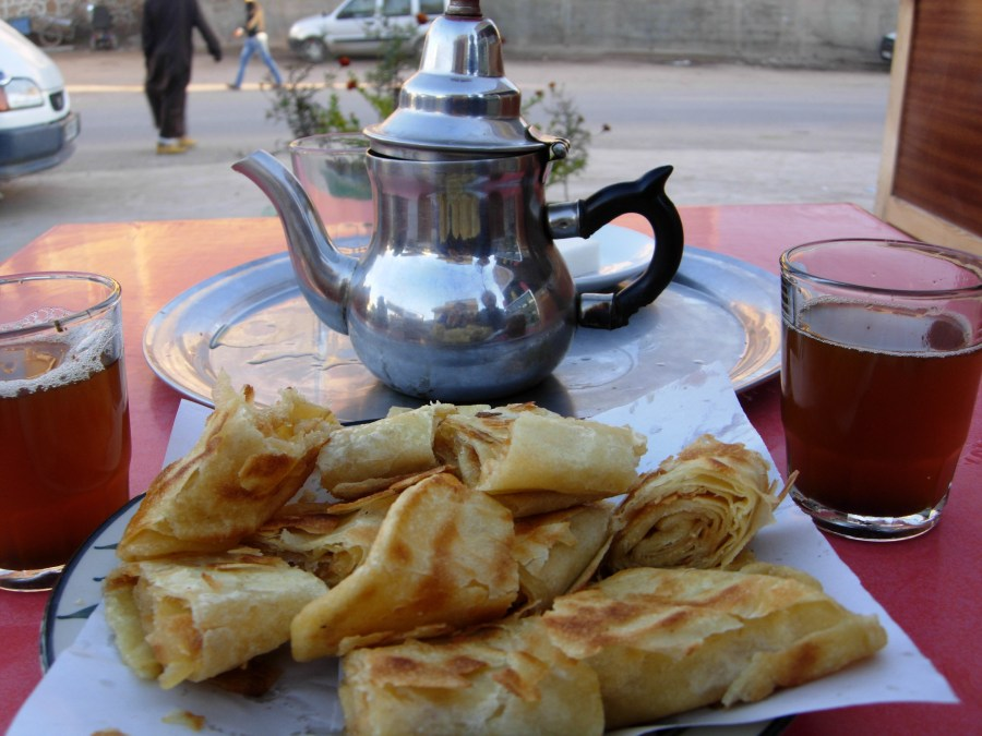 Tea and msemmen in aoulouz