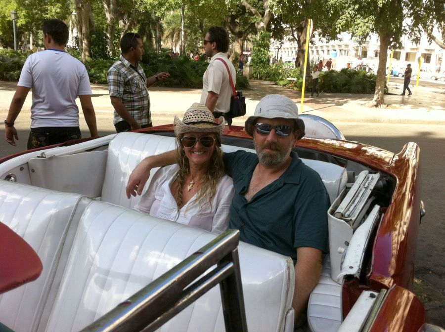 Meraid and Dan in Havana from the back of a Buick