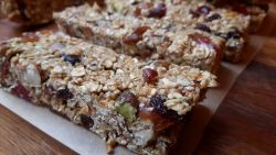 Chewy fruit and nut flapjacks