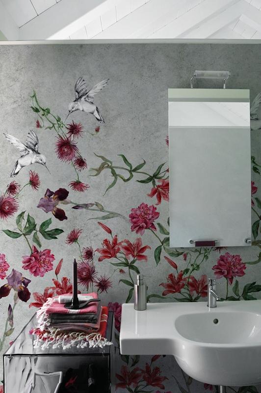 Fugenloses Bad m. Tapeten von Wall&Deco | farbefreudeleben