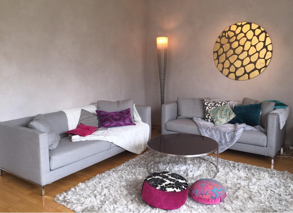 Wohnzimmer in Kalkputz
