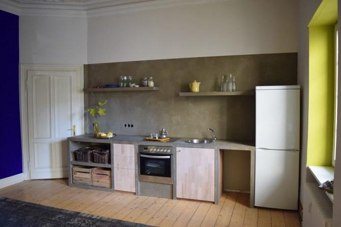 Küche in wasserfestem Putz