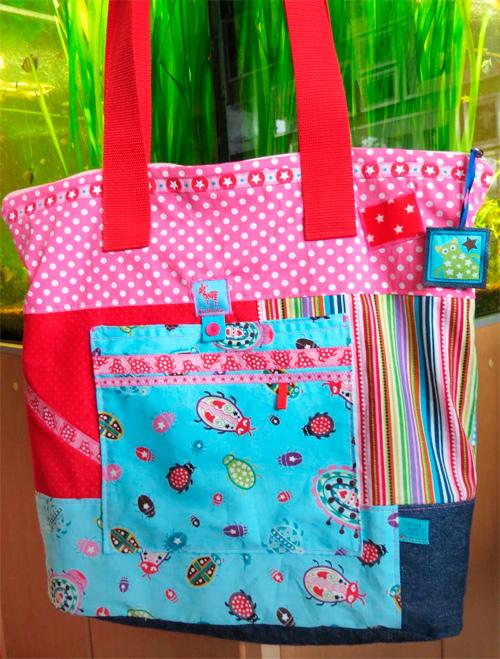 Henkeltasche Einkaufstasche Einkaufsbeutel Strandtasche Umhängetasche Schnittmuster Taschenspieler-CD farbenmix