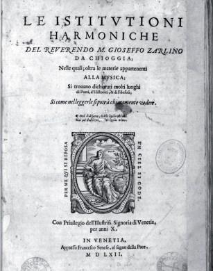 Frontespizio delle Istituzioni Harmoniche di G. Zarlino (1558)