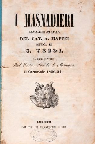 """Libretto de """"I Masnadieri"""", Mantova, Teatro Sociale, 1850"""