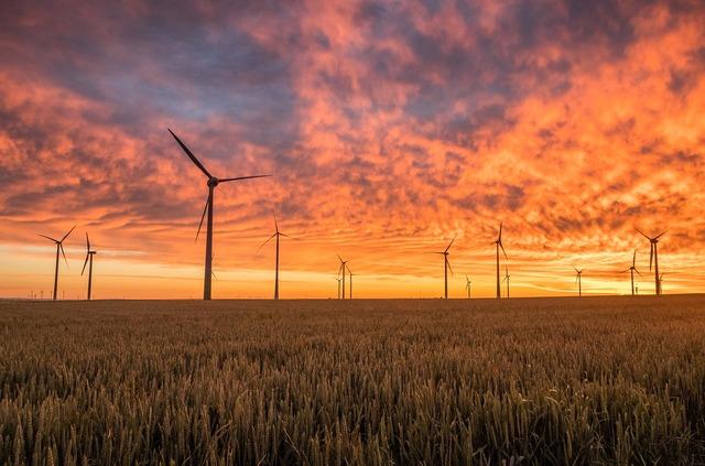 Pale eoliche in un campo coltivato al tramonto